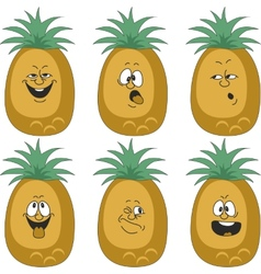 Emotion cartoon pineapple set 012 vector
