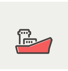Cargo vessel thin line icon vector