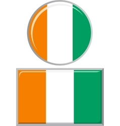 Cote d ivoire round and square icon flag vector