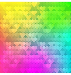 Abstract rainbow background from hearts vector