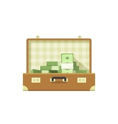 Leather suitcase open full of money vector