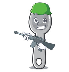 army spoon character cartoon style vector image