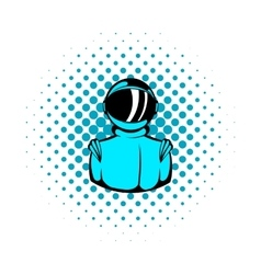 Astronaut in spacesuit icon comics style vector