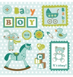 Baby boy card stamps cute collection vector image