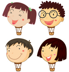 balloons with children heads vector image vector image