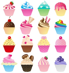 Cup cake set vector image