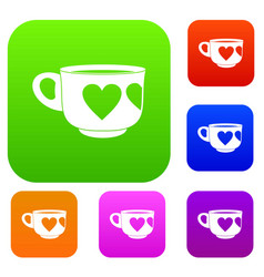 cup set color collection vector image vector image