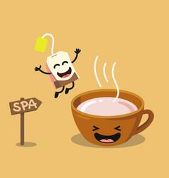 cute cartoon cup of tea with happy tea bag vector image