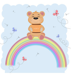 cute happy bear vector image vector image