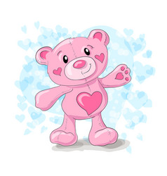 cute teddy with hearts cartoon vector image