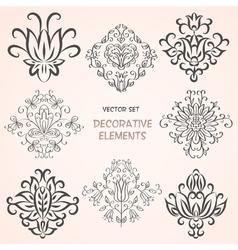 Decorative floral design elements vector image