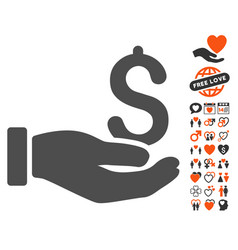 Earnings hand icon with love bonus vector