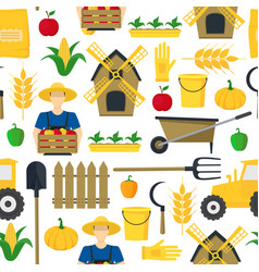 Farmer background pattern farming elements and vector