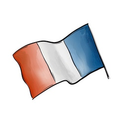 Flag of france on the white vector