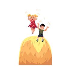 Flat boy girl playing at big stack of hay vector
