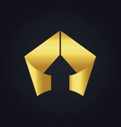 Gold arrow triangle shape ribbon logo vector