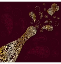 Greeting background with gold patterned champagne vector
