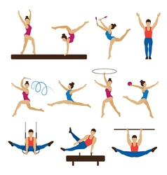 Gymnastics athletes men and women set vector