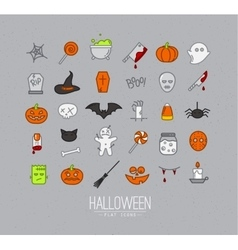 Halloween flat icons grey vector image vector image