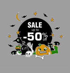 happy halloween sale message design vector image vector image