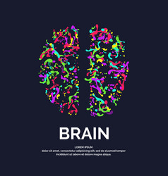 Logo colored silhouette of brain vector