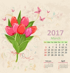 lovely bouquet of pink tulip on grunge background vector image