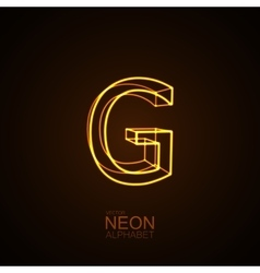 Neon 3D letter G vector image vector image
