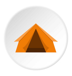 Orange touristic camping tent icon circle vector