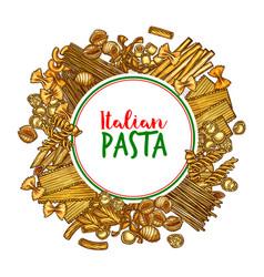 pasta banner of italian spaghetti sketch vector image vector image