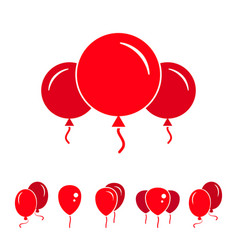Red party balloon icons isolated on white vector
