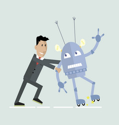 robot and human competition vector image vector image