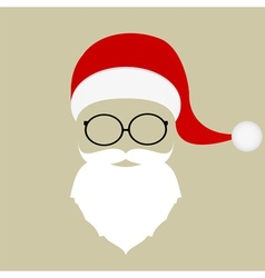 Santa hat mustache beard and glasses vector