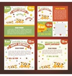 Set invitations birthday vector image