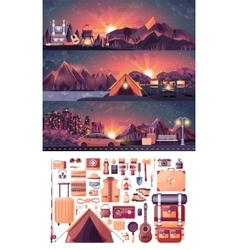 Set of night landscape mountains vector