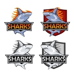 Sharks logo set animal hunter emblem company vector