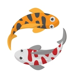 Two koi fishes icon cartoon style vector