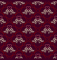 Valentines day seamless pattern with couples birds vector