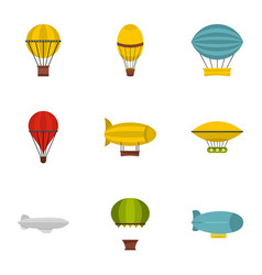 Vintage balloons icon set flat style vector