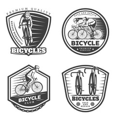 Vintage sport cycling emblems set vector