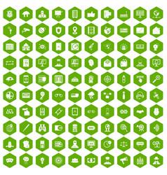 100 security icons hexagon green vector