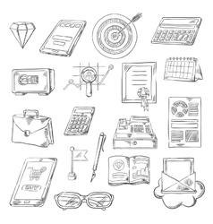 Business finance and banking sketch icons vector image