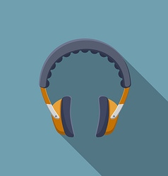 Flat design headphones icon with long shadow vector