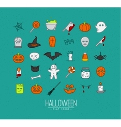 Halloween flat icons turquoise vector