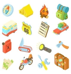 Travel icons set isometric style vector