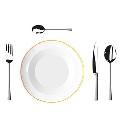 Cutlery and plates vector