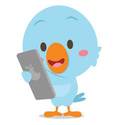 Blue bird with phone art vector