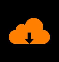 cloud technology sign orange icon on black vector image