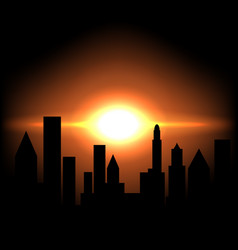 Sunrise morning in city vector
