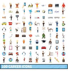100 career icons set cartoon style vector image