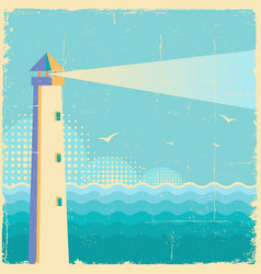 Lighthouse vintage postervintage sea waves vector